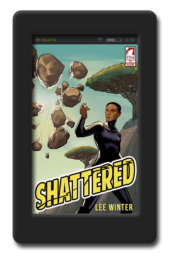 Cover of the lesbian superhero novel Shattered by Lee Winter