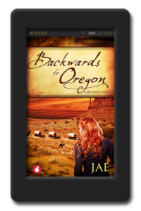 Cover of the lesbian historical romance Backwards to Oregon by Jae