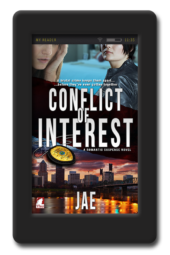 Cover of the lesbian romantic suspense Conflict of Interest by Jae