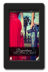 Cover of the light-hearted lesbian romance Departure from the Script by Jae
