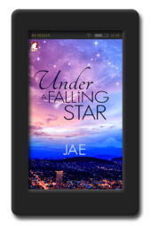Cover of lesbian workplace romance Under a Falling Star by Jae