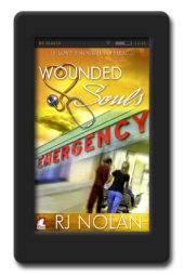 Cover of the lesbian medical romance Wounded Souls by RJ Nolan
