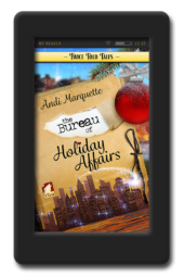 Cover of the lesbian retelling The Bureau of Holiday Affairs by Andi Marquette