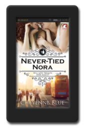 Cover of the reformed-player lesbian romance Never-Tied Nora by Cheyenne Blue