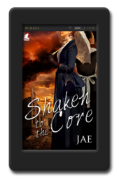 Cover of the lesbian historical romance Shaken to the Core by Jae
