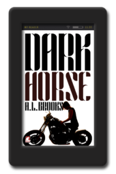 Cover of the lesbian holiday romance Dark Horse by A.L. Brooks