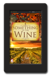 Cover of the lesbian fake-relationship romance Something in the Wine by Jae