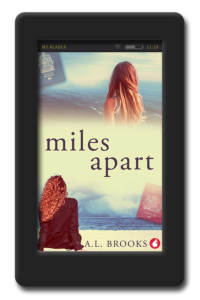 Cover of the slow-burn lesbian workplace romance Miles Apart by A.L. Brooks