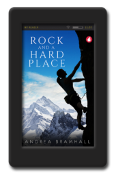 Cover of the lesbian adventure romance Rock and a Hard Place by Andrea Bramhall