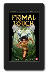 Cover of the lesbian adventure romance Primal Touch by Amber Jacobs