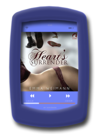 Audiobook cover of the lesbian erotic romance Heart's Surrender by Emma Weimann