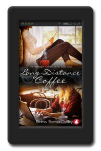Cover of the lesbian romance Long Distance Coffee by Emma Sterner