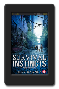 Cover of the lesbian dystopian novel Survival Instincts by May Dawney