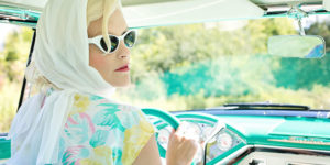ice queen woman in vintage car