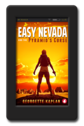 cover of the lesbian romantic-suspense adventure Easy Nevada and the Pyramid's Curse by Georgette Kaplan
