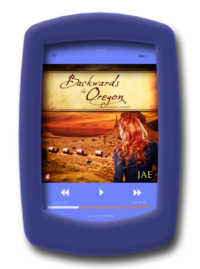 Audiobook cover of the lesbian historical romance Backwards to Oregon by Jae