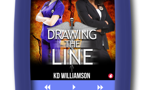 Cover of the second chance lesbian romance Drawing the Line (audiobook) by KD Williamson