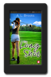 Cover of the slow-burning lesbian sport romance The Long Shot by A.L. Brooks