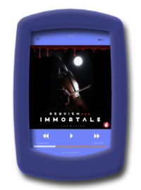 The audiobook coverer of the enemies-to-lovers lesbian thriller Requiem for Immortals by Lee Winter