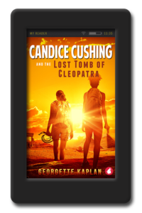 Cover of the adventure romance with kick-ass lesbians Candice Cushing and the Lost Tomb of Cleopatra by Georgette Kaplan