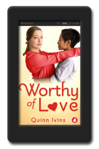 Cover of Worthy of Love by Quinn Ivins, an age-gap, workplace lesbian romance about learning you're never too broken to be worthy of love