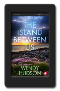 Cover of the lesbian romance and adventure book The Island Between Us by Wendy Hudson