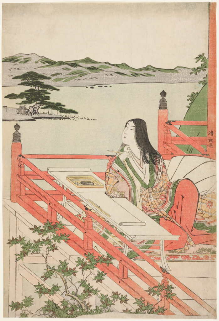 "Torii Kiyonaga's color woodblock print, ""Murasaki Shikibu"", 1779-1789. The Art Institute of Chicago."